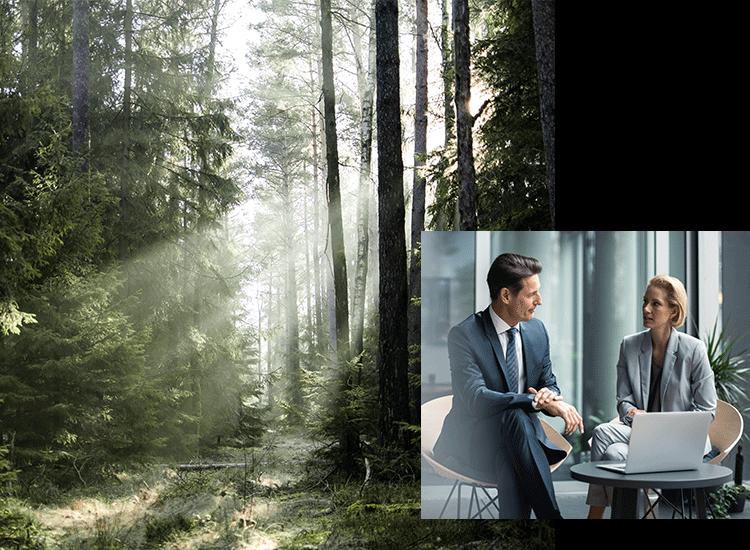 Mann und Frau im Gespräch und ein Wald